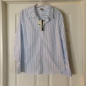 NWT Anne Klein  striped ruffle sleeve shirt size L